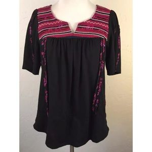 Anthropologie A Common Thread Black Pink Top Small